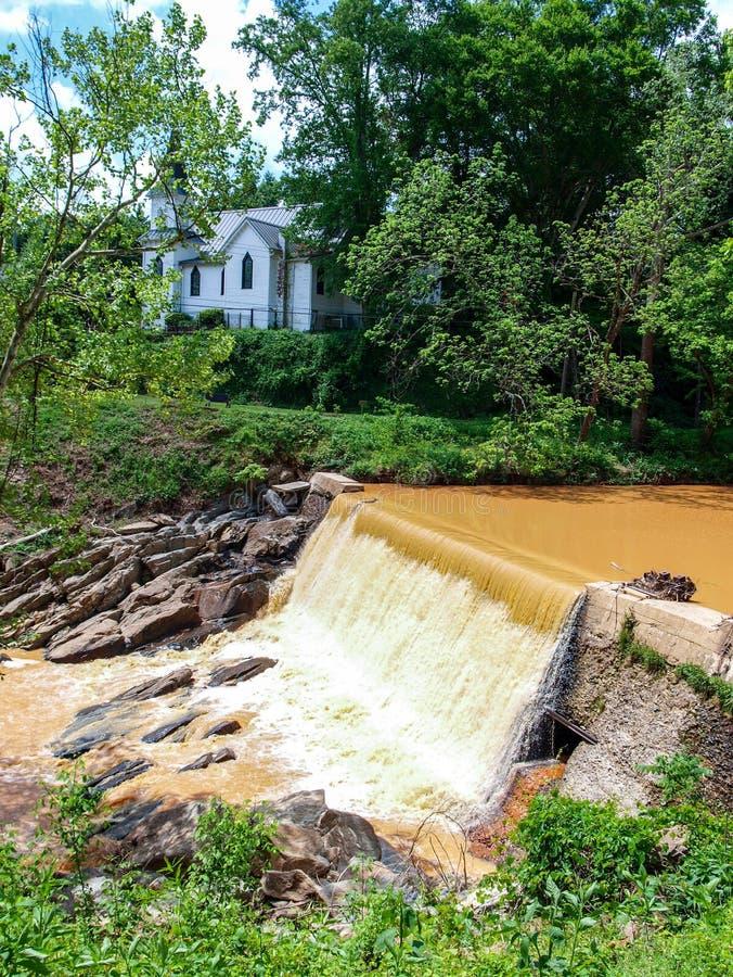 Dam along Elkin & Alleghany Rail Trail stock photo