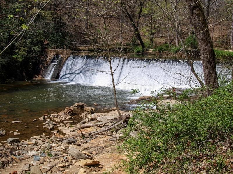 Dam along Elkin & Alleghany Rail Trail royalty free stock photography