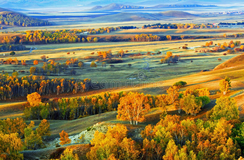 Dam Autumn in Inner Mongolia royalty free stock photography