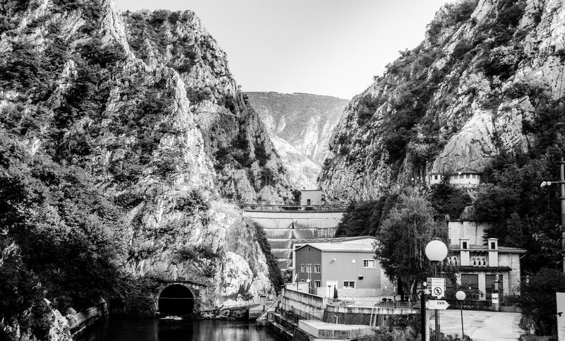 Dam in Black and White royalty free stock images