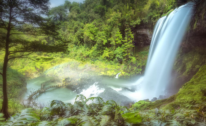 Dam'bri Falls in the afternoon sun. Side view still majestic beauty. It is the highest waterfall of Lam Dong, attracting many tourists to resorts royalty free stock images