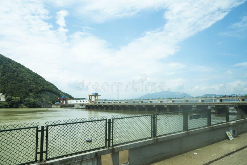 Dam and bridge stock images