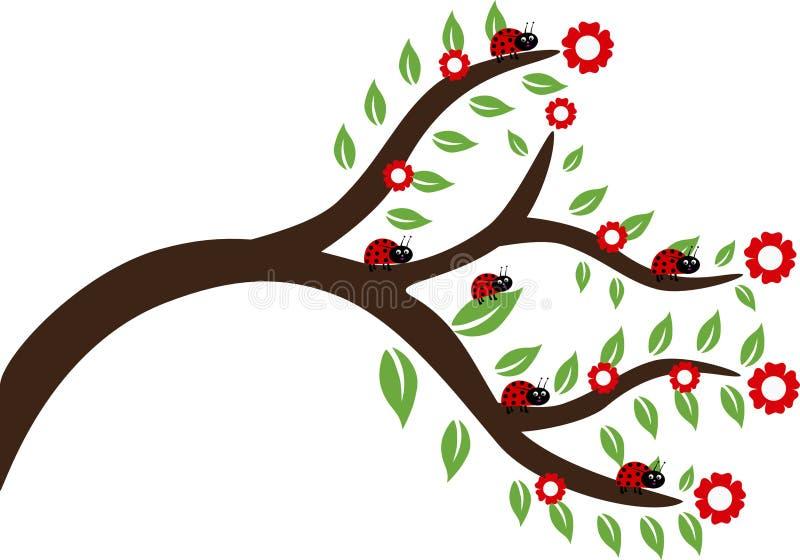 Dam Bug On ett träd vektor illustrationer