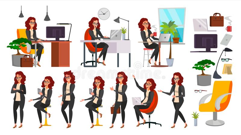 Dam Character Vector för affärskvinna Funktionsduglig kvinnlig i handling IT Start Affär Företag Kontorist In Office Clothes stock illustrationer