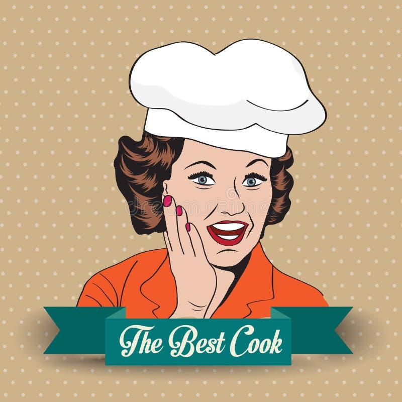 Dam Chef, retro illustration royaltyfri illustrationer