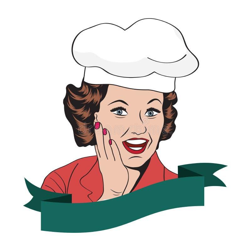 Dam Chef, retro illustration vektor illustrationer