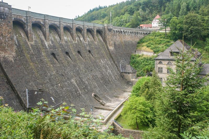 Dam `Diemeltalsperre` and hydroelectric power station Helminghausen in Sauerland, Germany. royalty free stock images