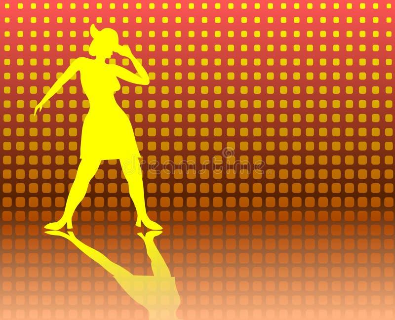 Dam för klappdans på en Jazzy bakgrund stock illustrationer