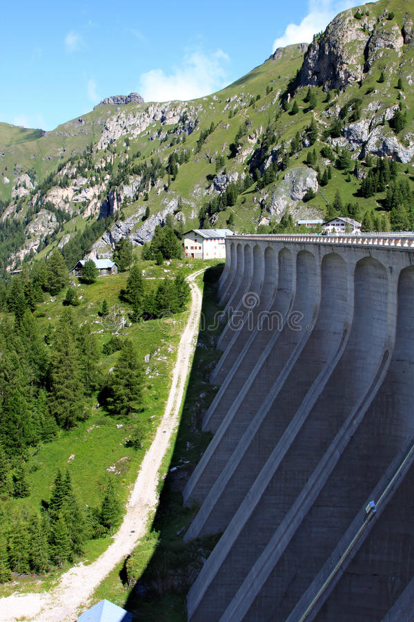 Dam of Fedaia Reservoir in the Italian Dolomites stock photo