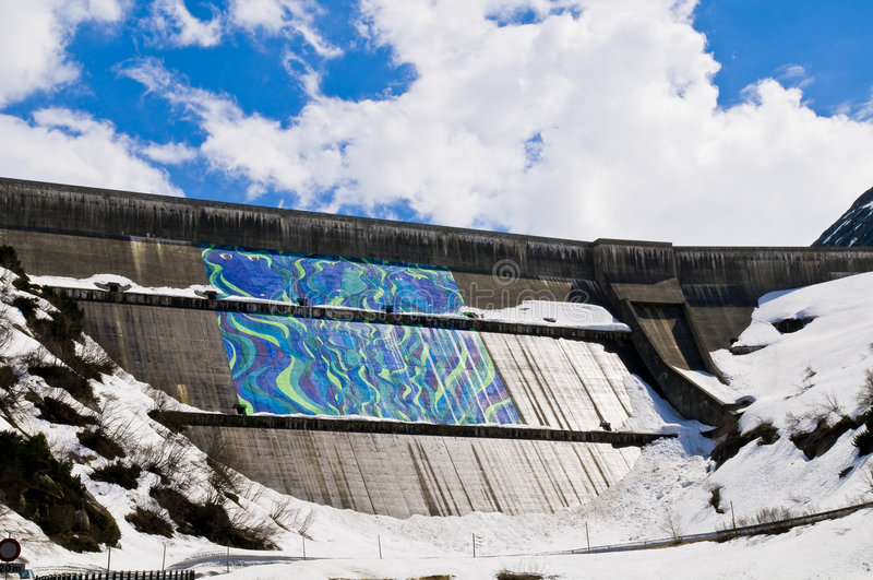 Dam; Grimsel, Zwitserland stock foto's