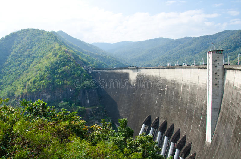 Dam of hydroelectric power station. And irrigation. The Bhumipol Dam on the Ping River, Tak, Thailand stock photo