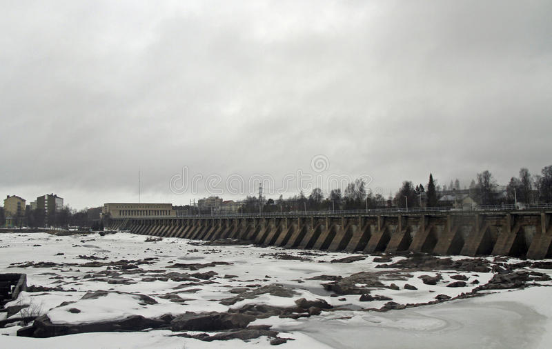 Dam of hydroelectric power station in Oulu. Finland royalty free stock photography