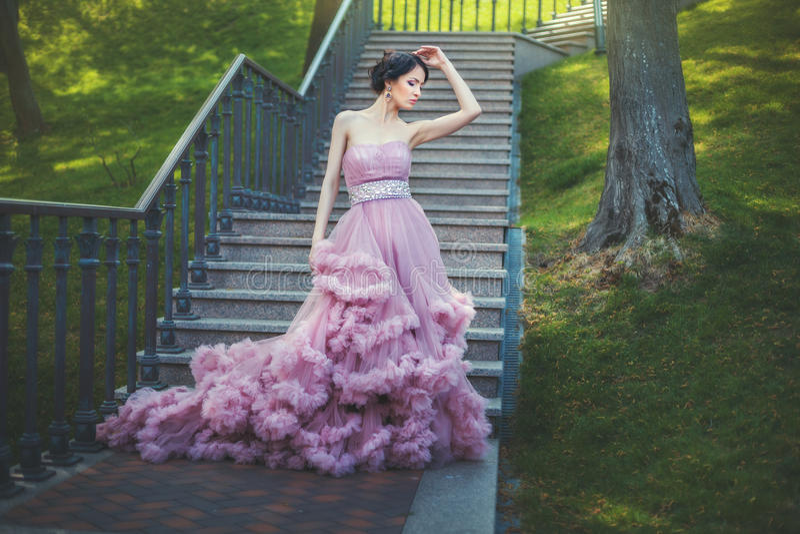 Dam i den frodiga klänningen arkivbild