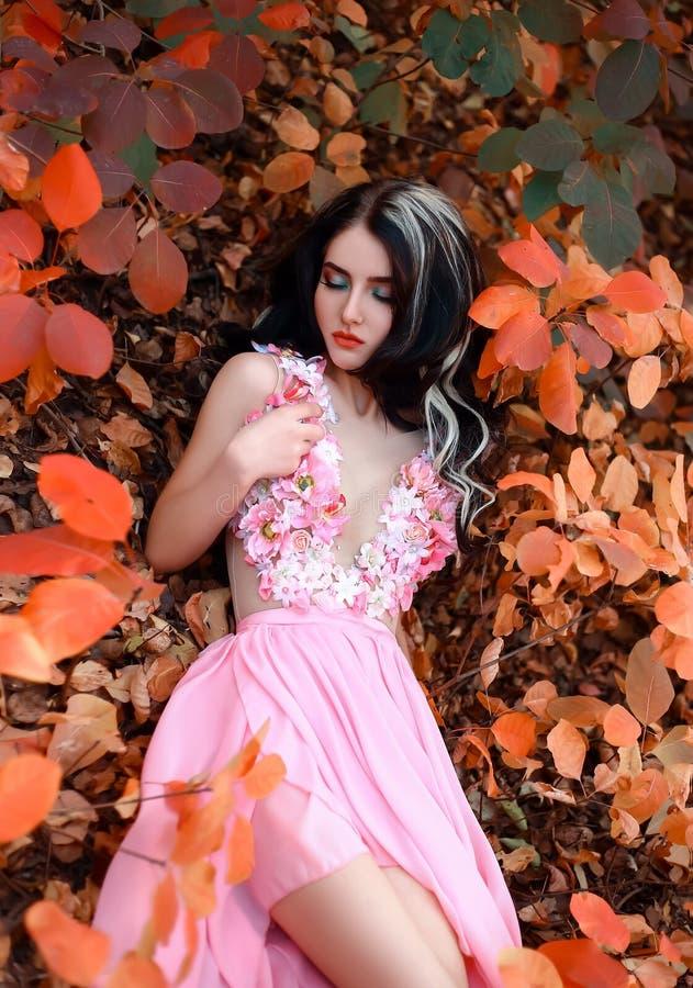 Dam i en lyxig frodig rosa pastellfärgad klänning arkivfoto