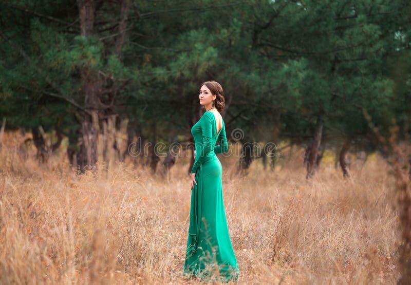 Dam i lyxiga frodiga dres för en smaragd royaltyfri fotografi
