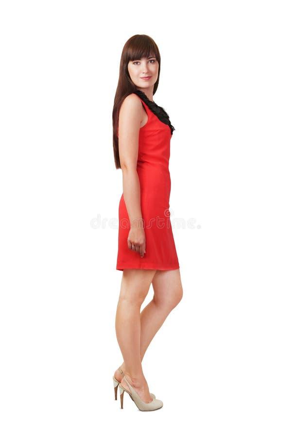 Dam i rött royaltyfria bilder
