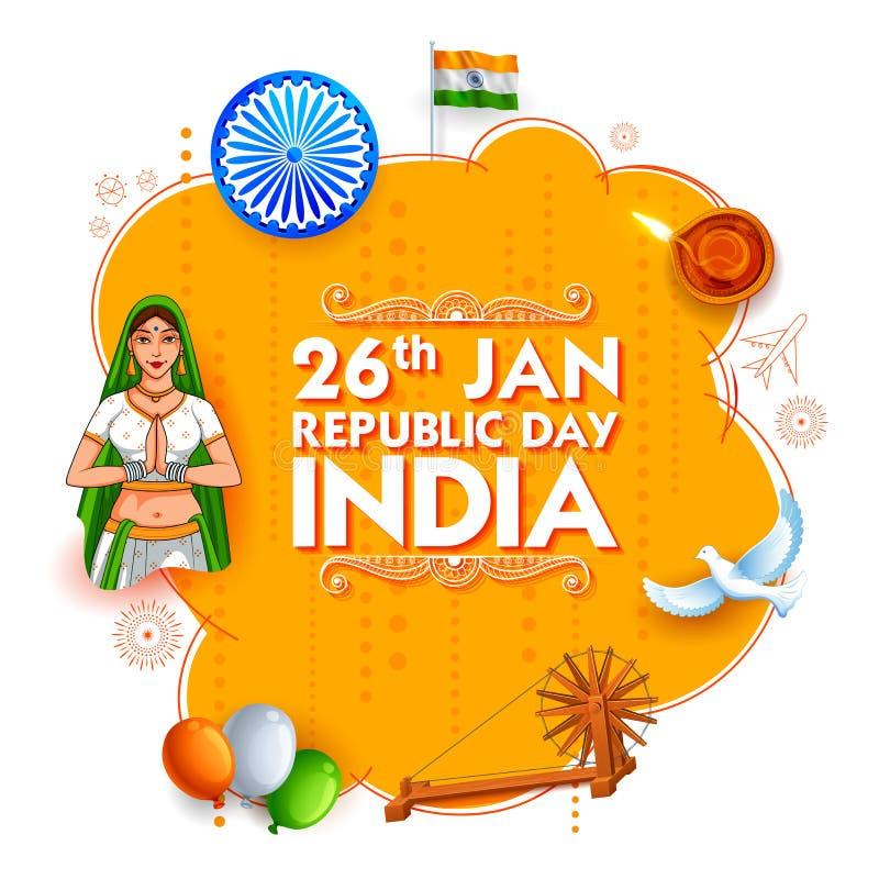 Dam i Tricolor saree av den indiska flaggan för 26th Januari lycklig republikdag av Indien vektor illustrationer
