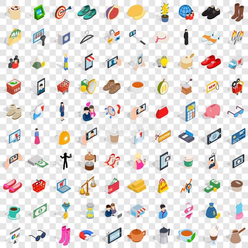 100 dam ikon ustawiających, isometric 3d styl royalty ilustracja