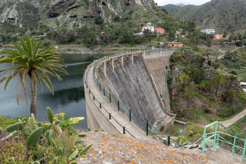 Dam on La Gomera Island. Dam near Vallehermoso on La Gomera Island, Canary Islands, Spain stock image