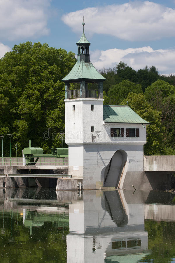 Dam on the lake in Augsburg. At summer stock images