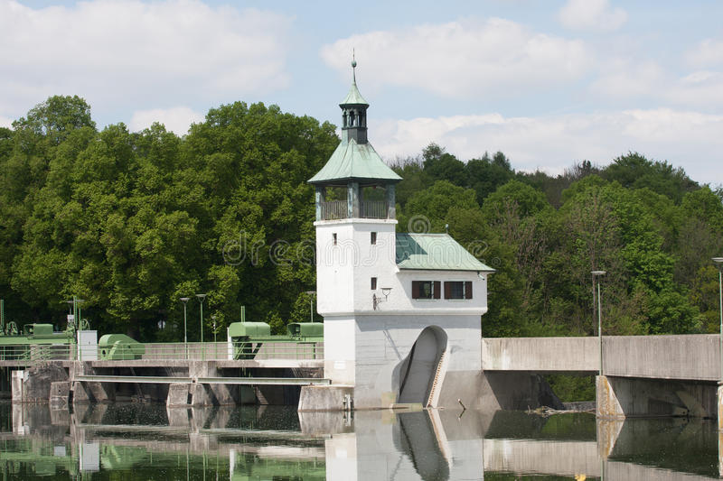 Dam on the lake in Augsburg. At summer stock photos