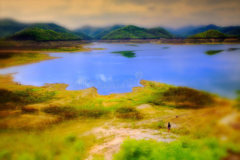 The dam on the lake Mae Kuang Dam. Mae Kuang Dam a nice place near Chiang mai. This storehouse of the purest of pure water flowing here from mountain rivers royalty free stock photos