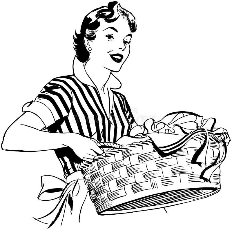 Dam With Laundry Basket royaltyfri illustrationer
