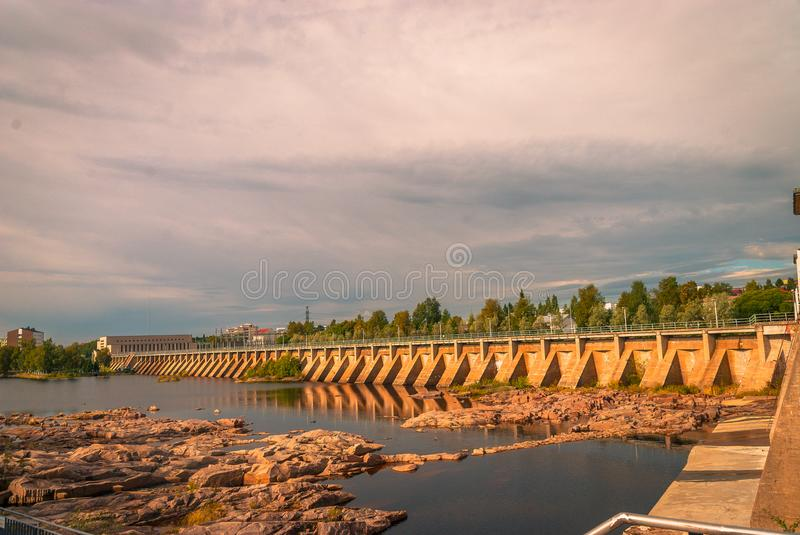 Dam and locks in Oulu. Extensive water dams and locks system located in Oulu Finland royalty free stock photos