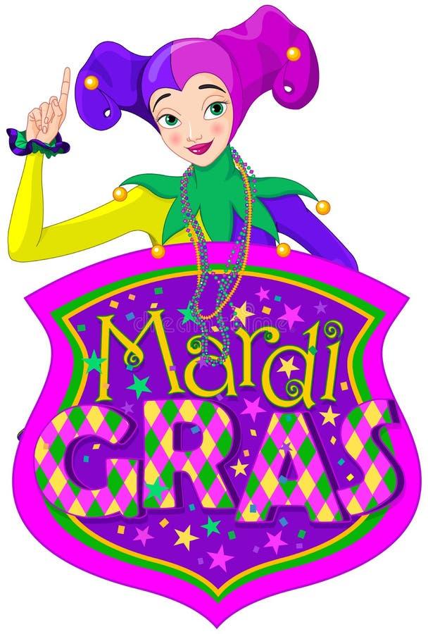 Dam & Mardi Gras Sign vektor illustrationer