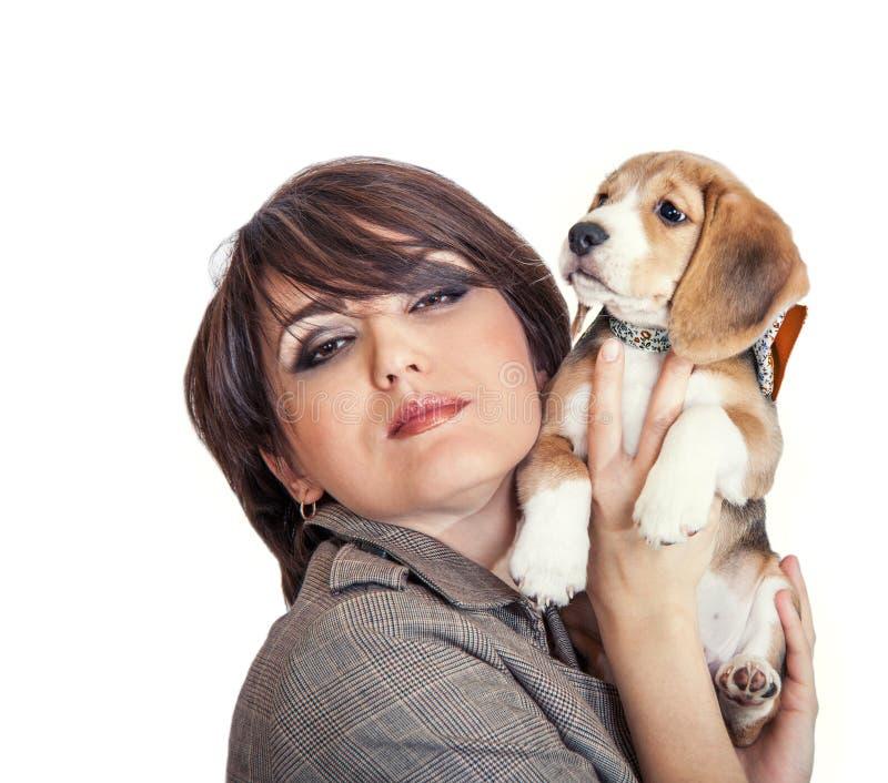 Dam med den gulliga beaglevalpen royaltyfri fotografi