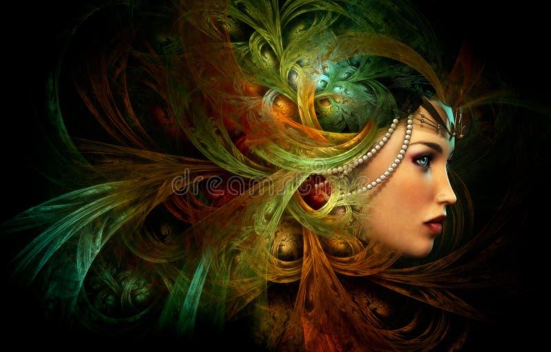 Dam med en elegant huvudbonad, CG royaltyfri illustrationer