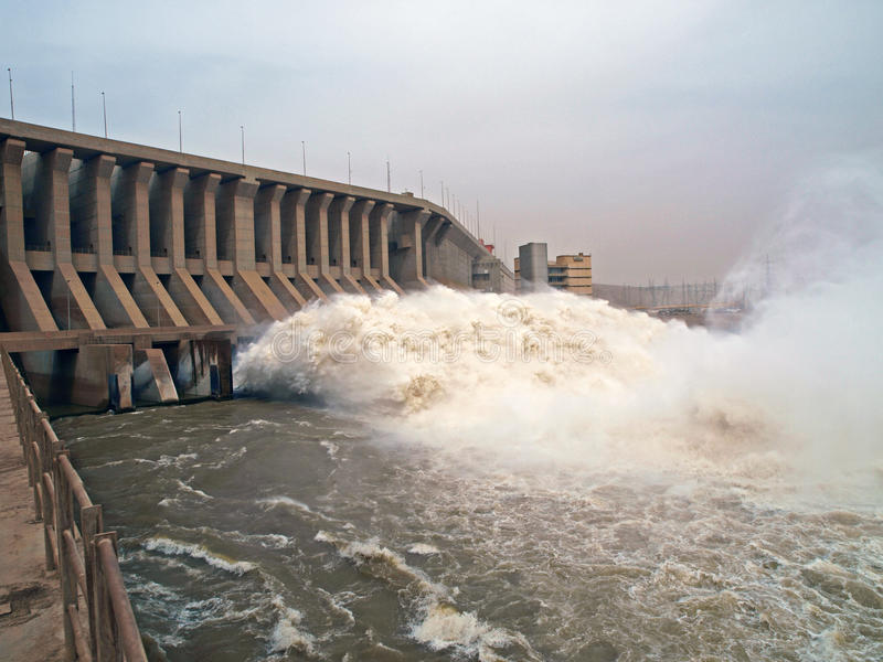 Dam of the Merowe hydroelectric power station royalty free stock photos
