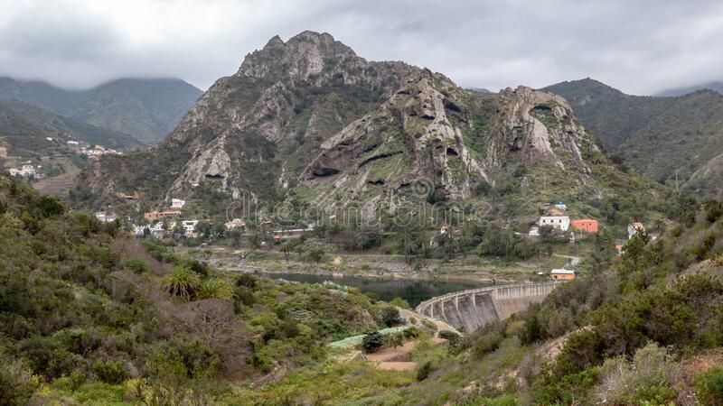 Dam on La Gomera Island. Dam near Vallehermoso on La Gomera Island, Canary Islands, Spain royalty free stock image