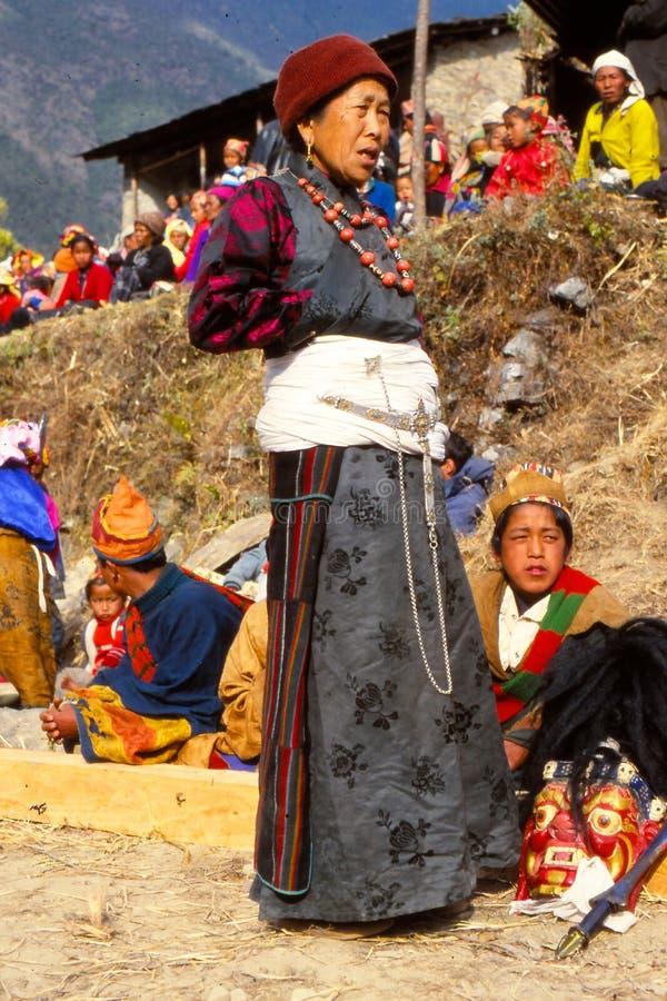 Dam på festivalen i Ladakh, Indien arkivfoto