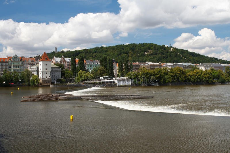 Dam on the river, view of the Malostranska water tower. Prague. Czech Republic stock image