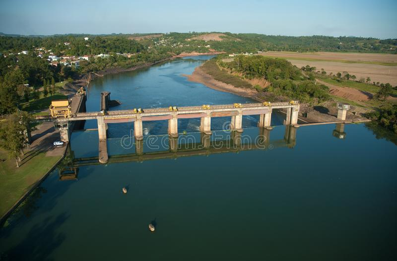 Dam and sluice gate of Bom Retiro do Sul. Rio Grande do Sul, Brazil, August 17, 2006. Aerial view of the dam and sluice gate of Bom Retiro do Sul, on the river stock images