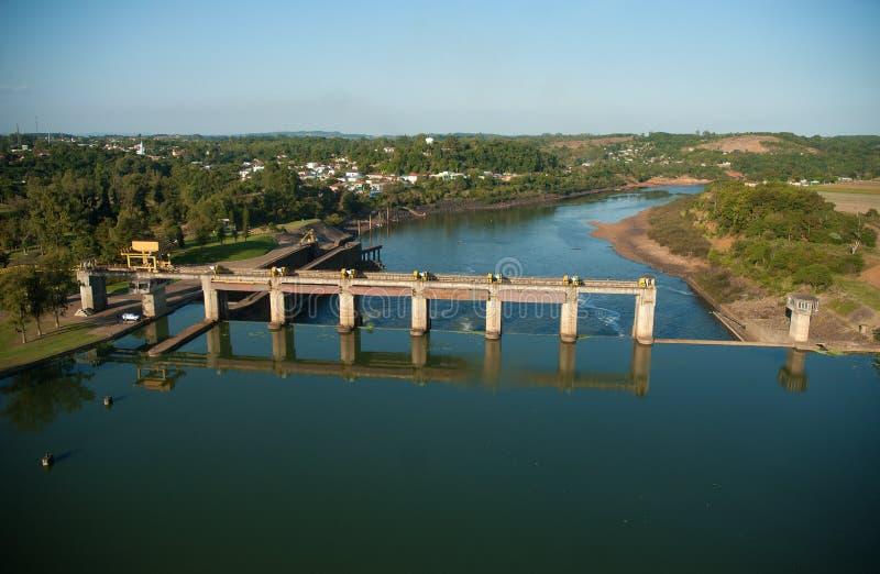 Dam and sluice gate of Bom Retiro do Sul. Rio Grande do Sul, Brazil, August 17, 2006. Aerial view of the dam and sluice gate of Bom Retiro do Sul, on the river stock photos