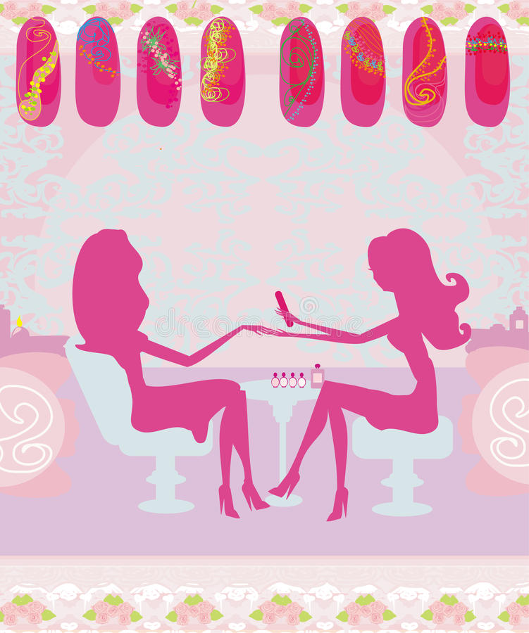 Dam som gör manikyr i skönhetsalongen, abstrakt kort royaltyfri illustrationer