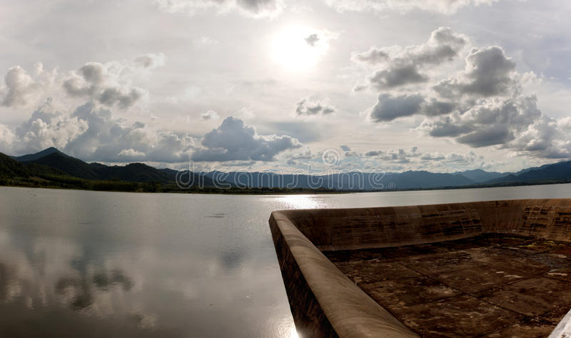 Dam spill way. In the reservoir Thailand royalty free stock photography