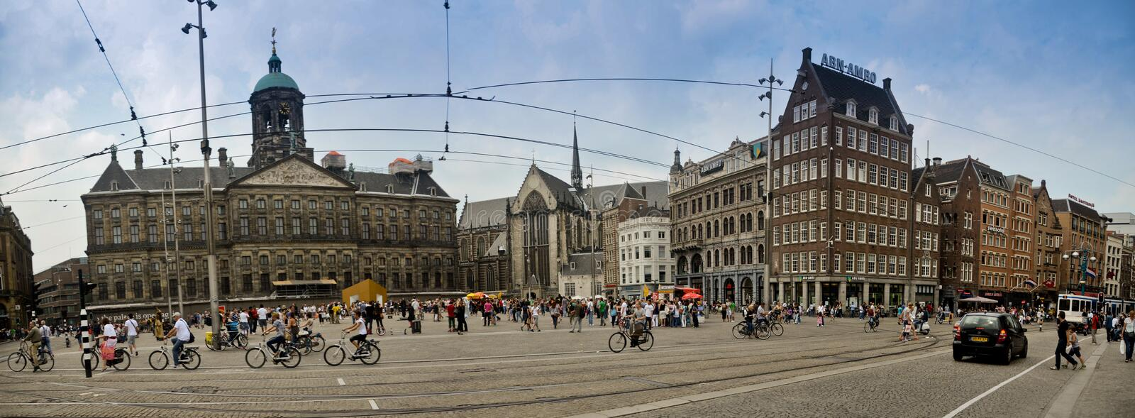 Dam Square in Amsterdam royalty free stock photos