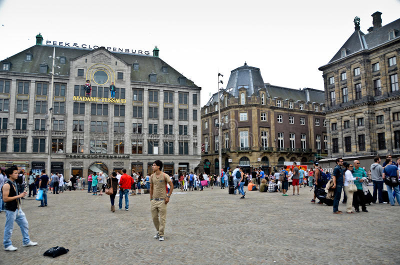 Dam Square in Amsterdam stock photos