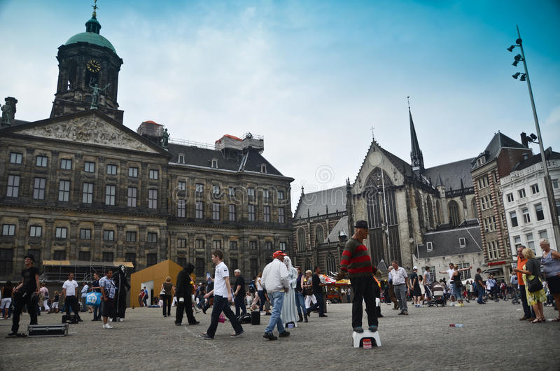 Dam Square in Amsterdam stock photography
