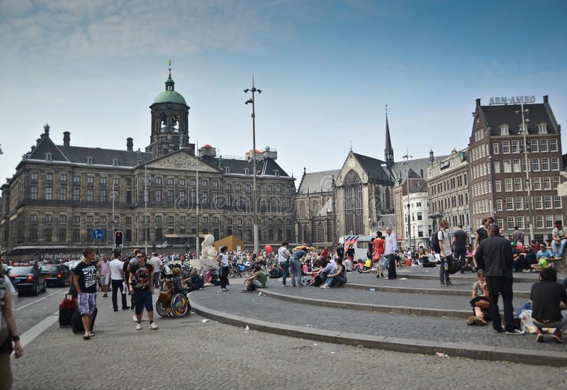 Dam Square in Amsterdam stock image