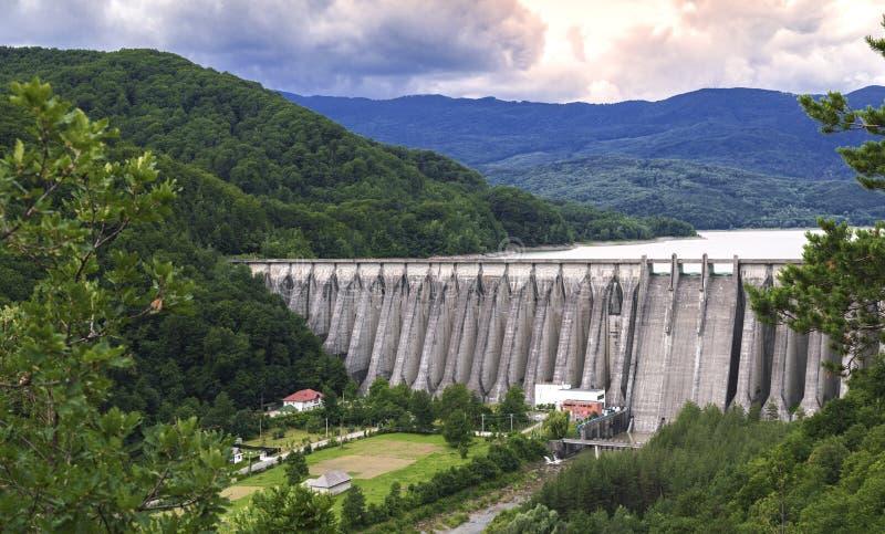 The dam on Uz river in Bacau, Romania. The dam od Poiana Uzului stock image