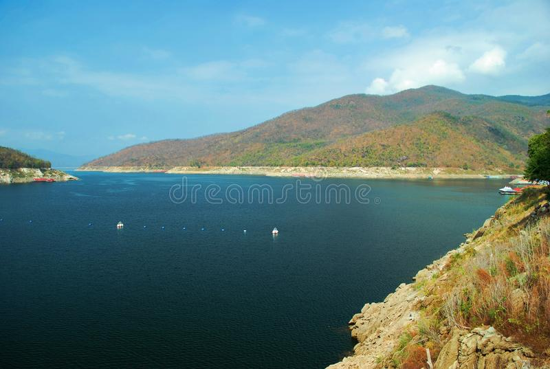 Dam. View of dam in northern Thailand royalty free stock image