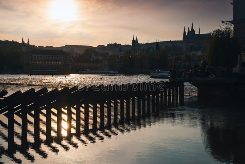 Dam on Vltava river. Old Prague. In summer evening, Czech Republic royalty free stock images
