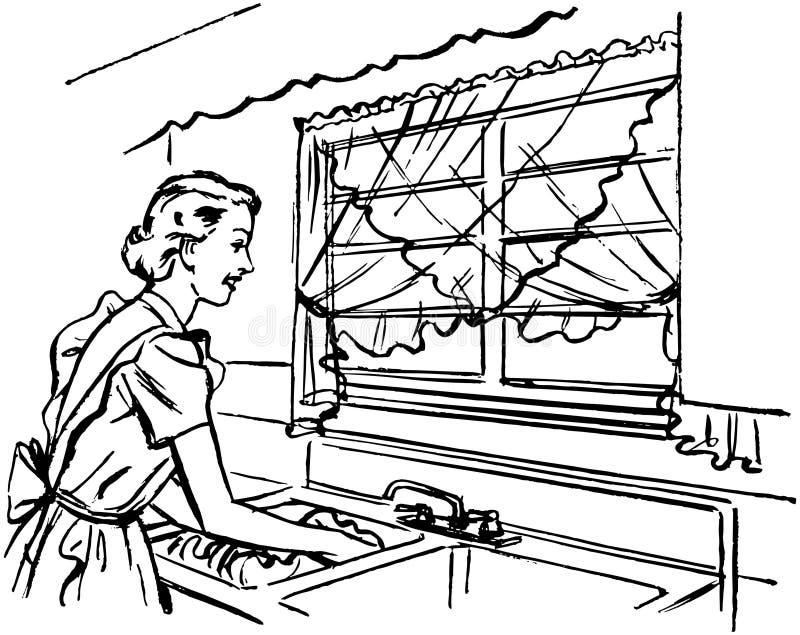 Dam Washing Dishes stock illustrationer