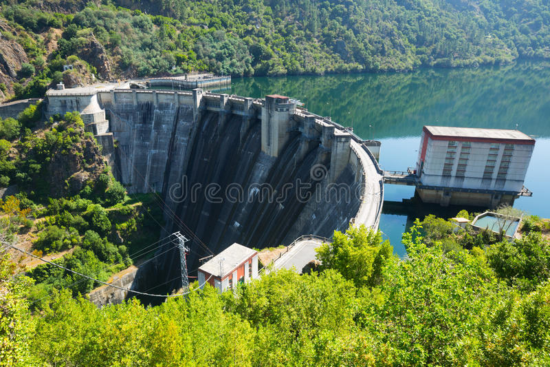 Dam of water power plant royalty free stock photography