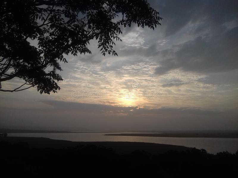Sunset over Dam. Dam at the William Pretoria Reserve Orange Free State SouthAfrica stock photography