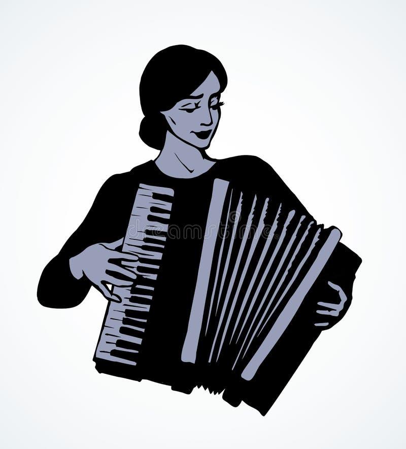 Dama bawić się akordeon rysuje tła trawy kwiecistego wektora ilustracja wektor
